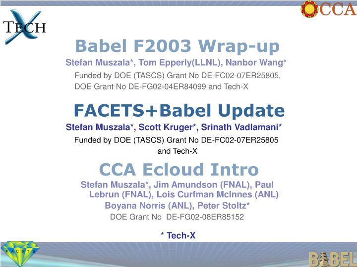 Babel F2003 Wrap-up
