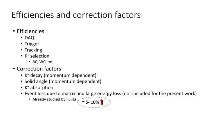 Efficiencies and correction factors