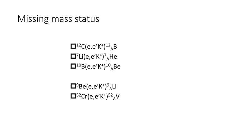 Missing mass status