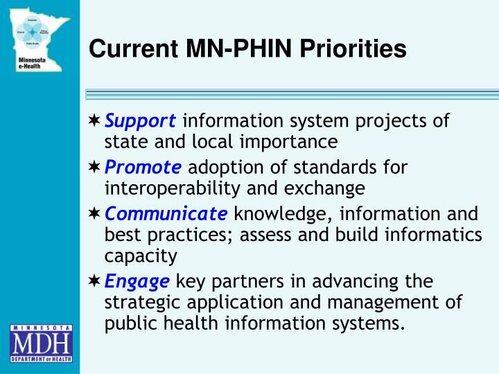 Current MN-PHIN Priorities
