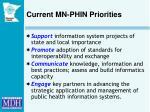 current mn phin priorities