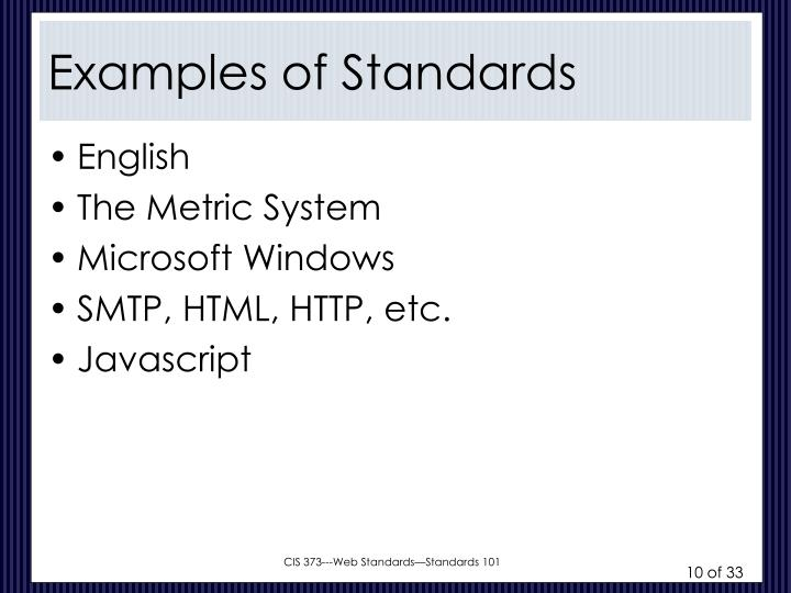 Examples of Standards