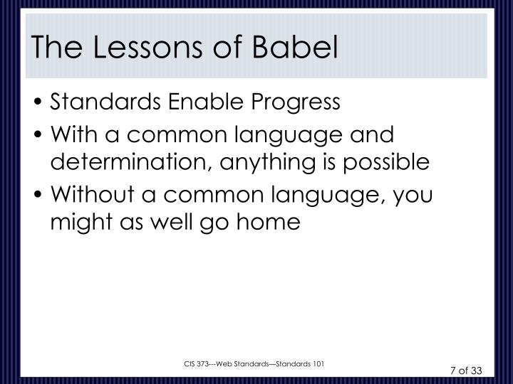 The Lessons of Babel