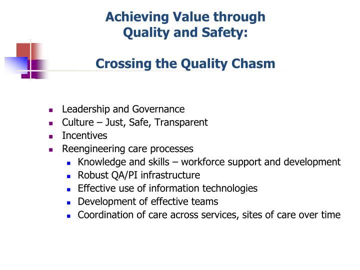 Achieving Value through