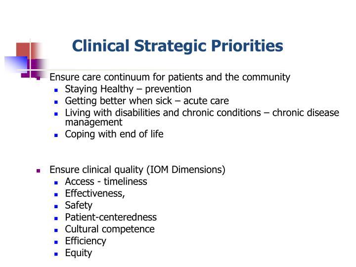 Clinical Strategic Priorities