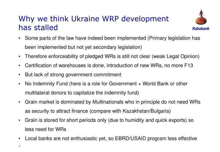 Why we think Ukraine WRP development has stalled