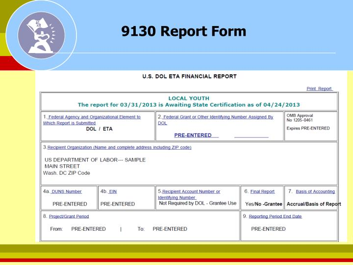 9130 Report Form