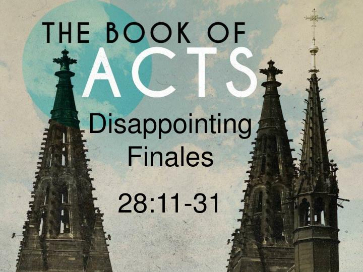 disappointing finales 28 11 31