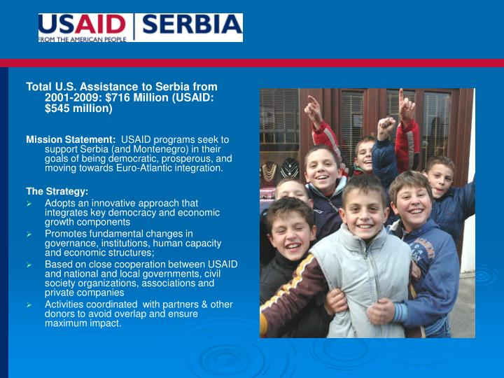 Total U.S. Assistance to Serbia from 2001-2009: $716 Million (USAID: $545 million)