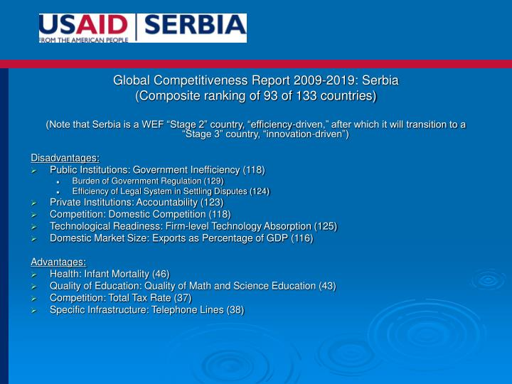 Global Competitiveness Report 2009-2019: Serbia