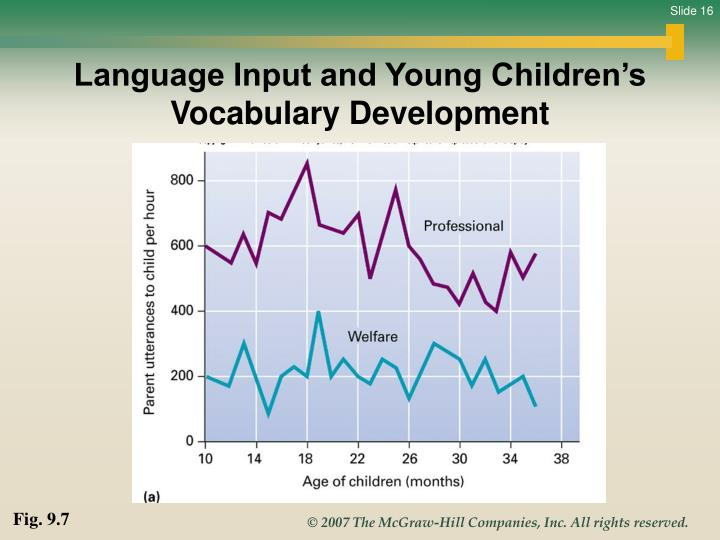 Language Input and Young Children's Vocabulary Development