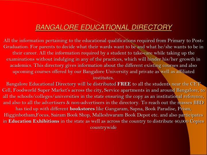 BANGALORE EDUCATIONAL DIRECTORY