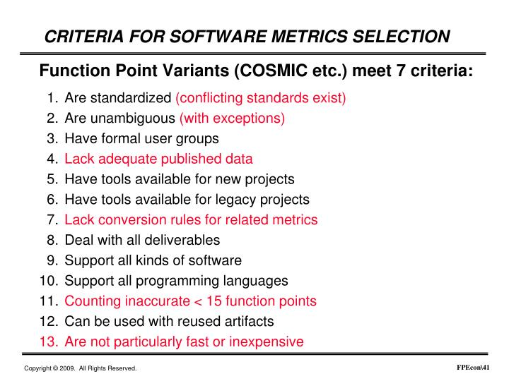 CRITERIA FOR SOFTWARE METRICS SELECTION