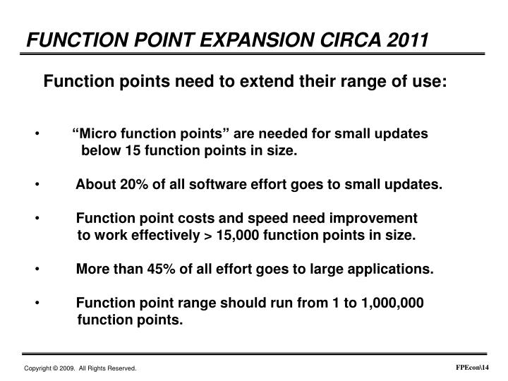 FUNCTION POINT EXPANSION CIRCA 2011