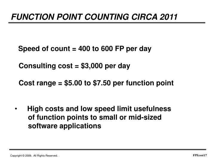 FUNCTION POINT COUNTING CIRCA 2011