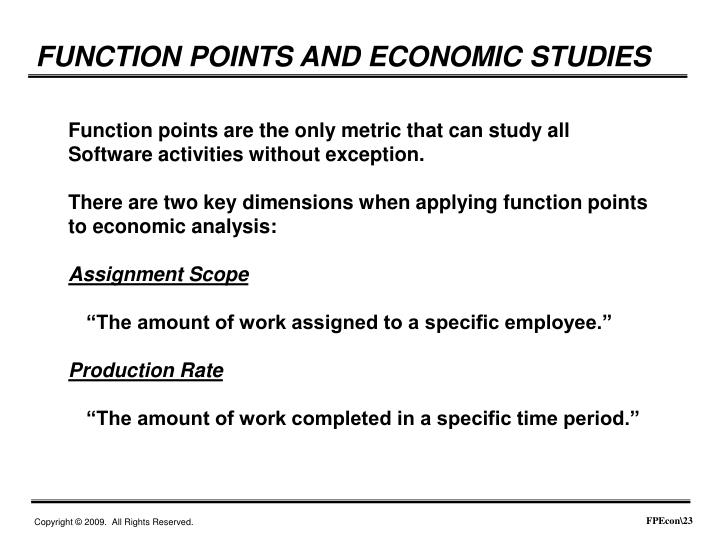 FUNCTION POINTS AND ECONOMIC STUDIES