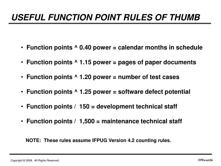 USEFUL FUNCTION POINT RULES OF THUMB