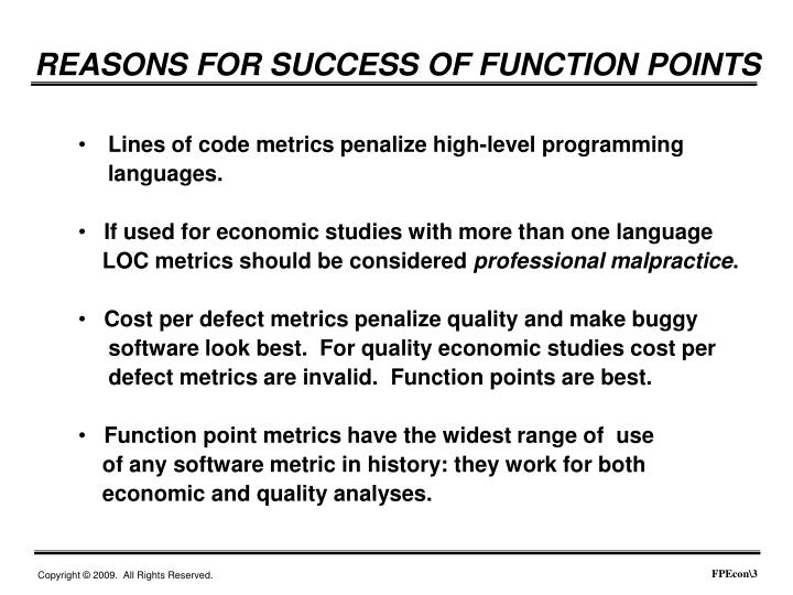 REASONS FOR SUCCESS OF FUNCTION POINTS