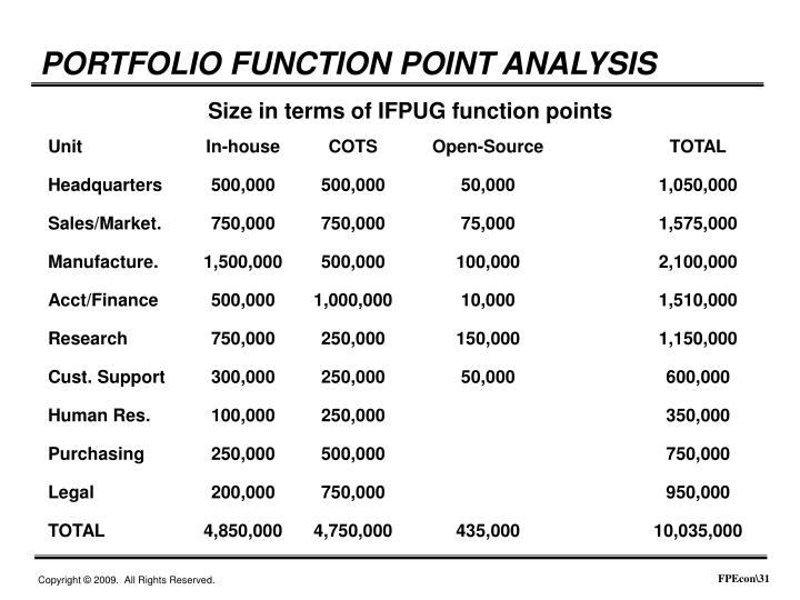PORTFOLIO FUNCTION POINT ANALYSIS