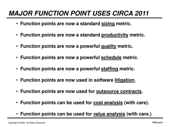 MAJOR FUNCTION POINT USES CIRCA 2011