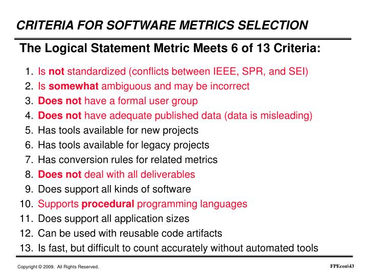 The Logical Statement Metric Meets 6 of 13 Criteria: