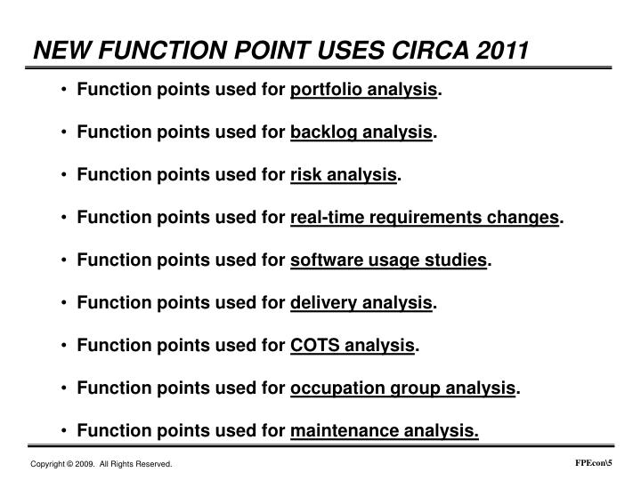 NEW FUNCTION POINT USES CIRCA 2011