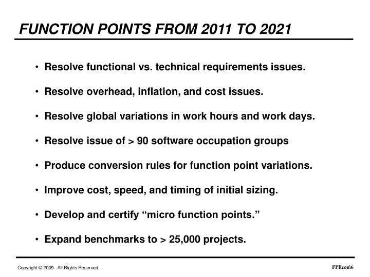 FUNCTION POINTS FROM 2011 TO 2021