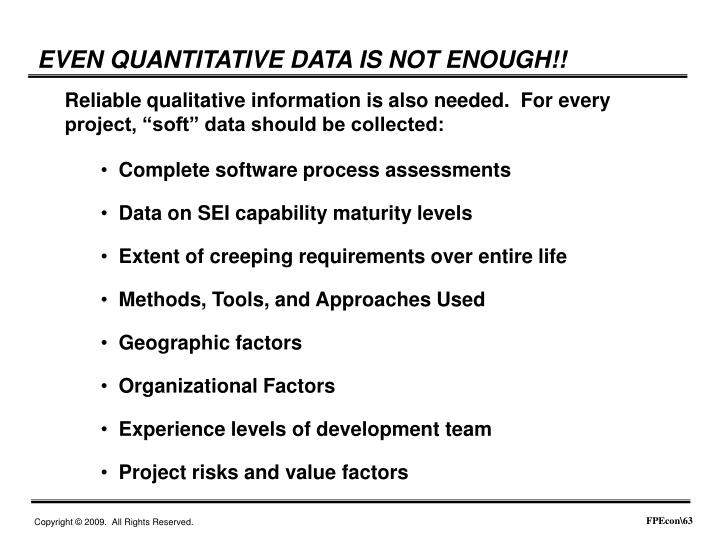 EVEN QUANTITATIVE DATA IS NOT ENOUGH!!