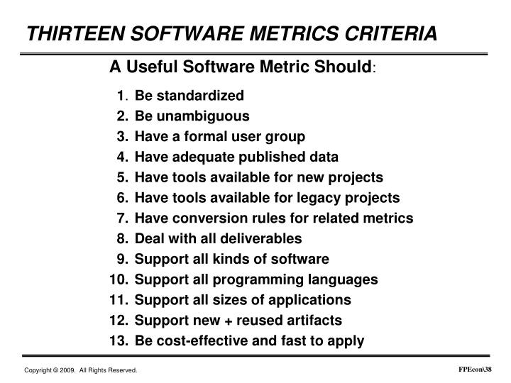 A Useful Software Metric Should