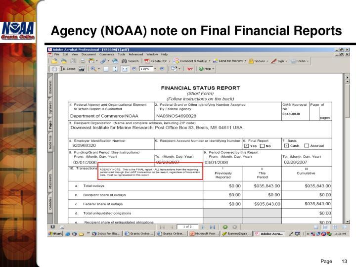 Agency (NOAA) note on Final Financial Reports