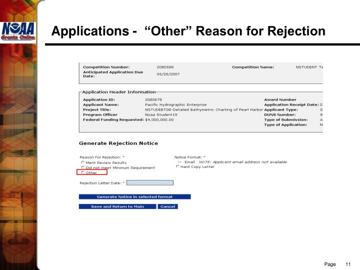 """Applications -  """"Other"""" Reason for Rejection"""