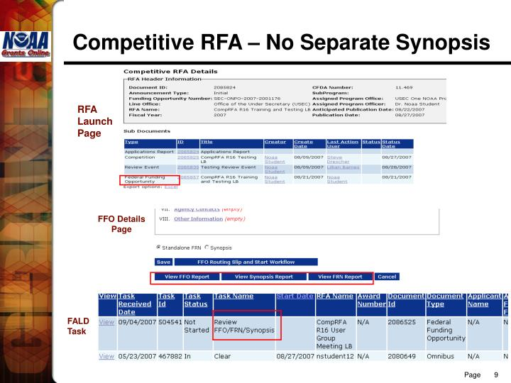 Competitive RFA – No Separate Synopsis