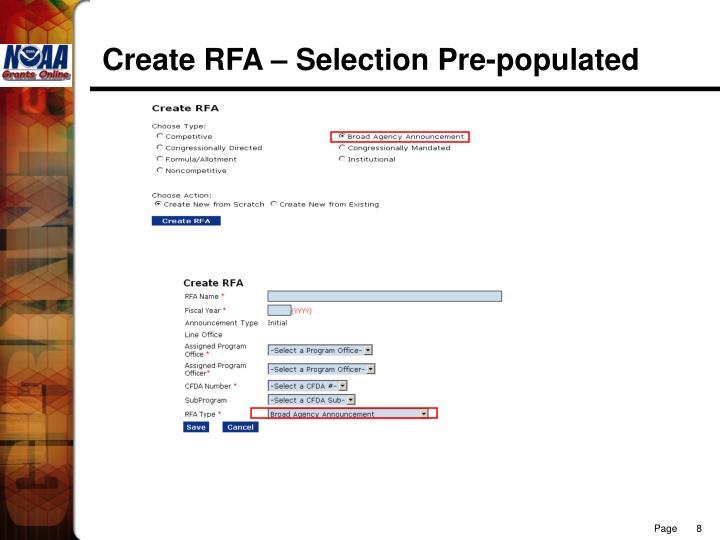 Create RFA – Selection Pre-populated
