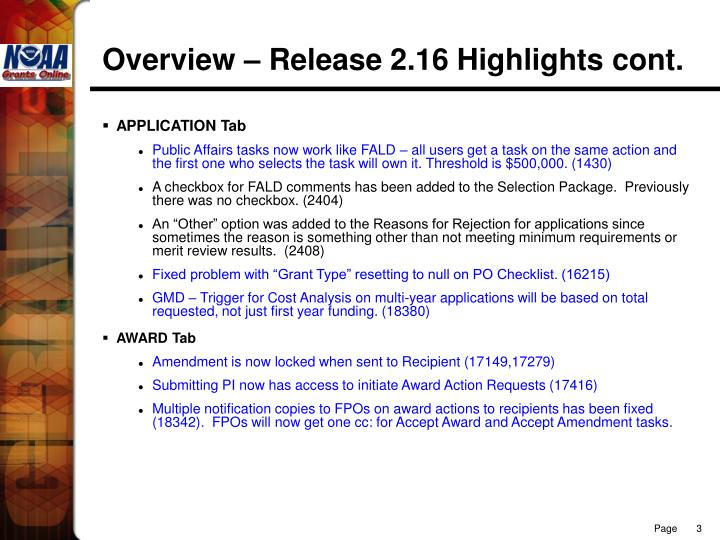 Overview – Release 2.16 Highlights cont.
