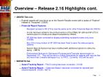overview release 2 16 highlights cont1