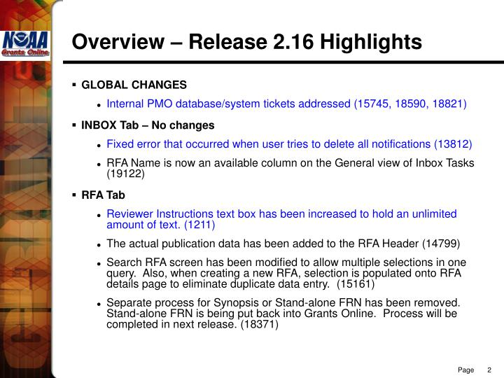 Overview – Release 2.16 Highlights
