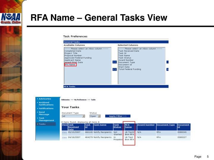 RFA Name – General Tasks View