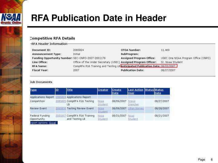 RFA Publication Date in Header
