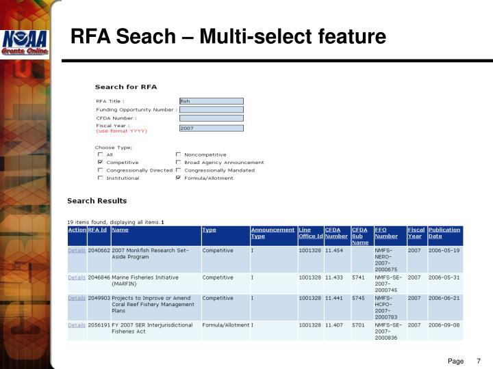 RFA Seach – Multi-select feature