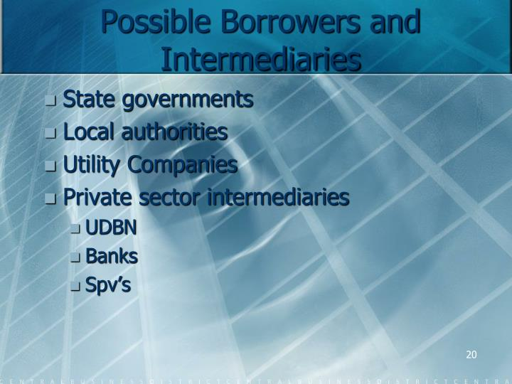 Possible Borrowers and Intermediaries
