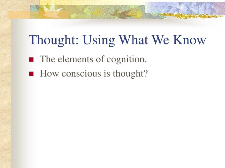 Thought: Using What We Know