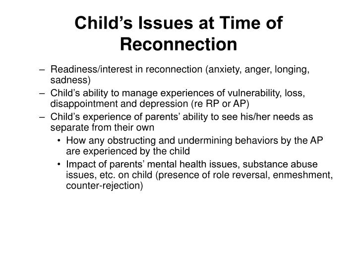 Child's Issues at Time of Reconnection