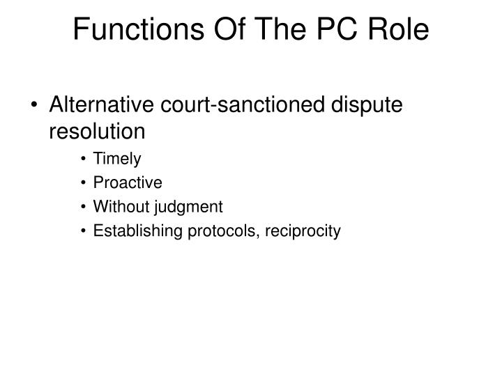 Functions Of The PC Role