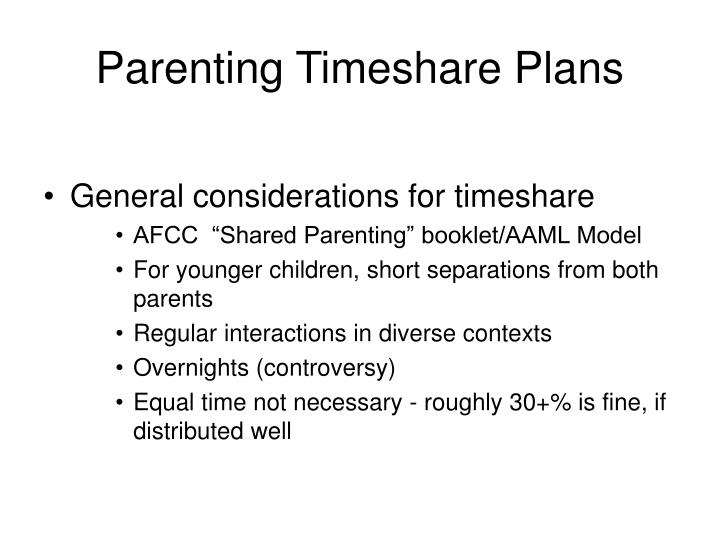 Parenting Timeshare Plans