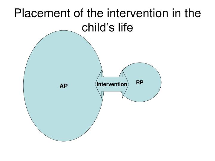Placement of the intervention in the child's life