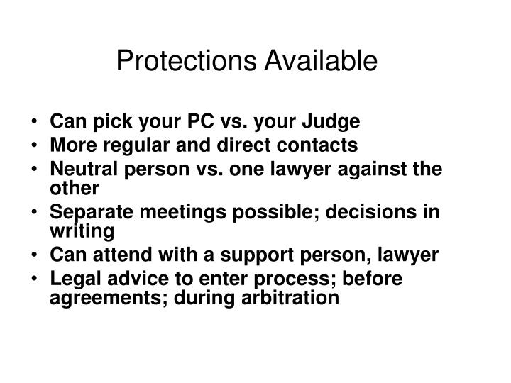Protections Available