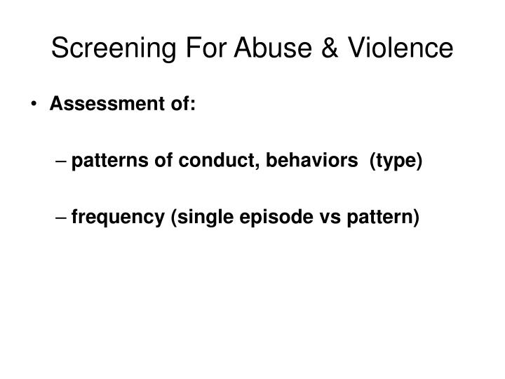 Screening For Abuse & Violence