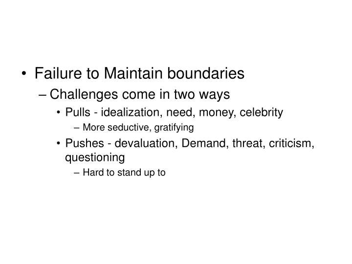 Failure to Maintain boundaries