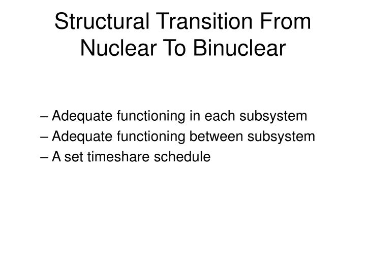Structural Transition From Nuclear To Binuclear