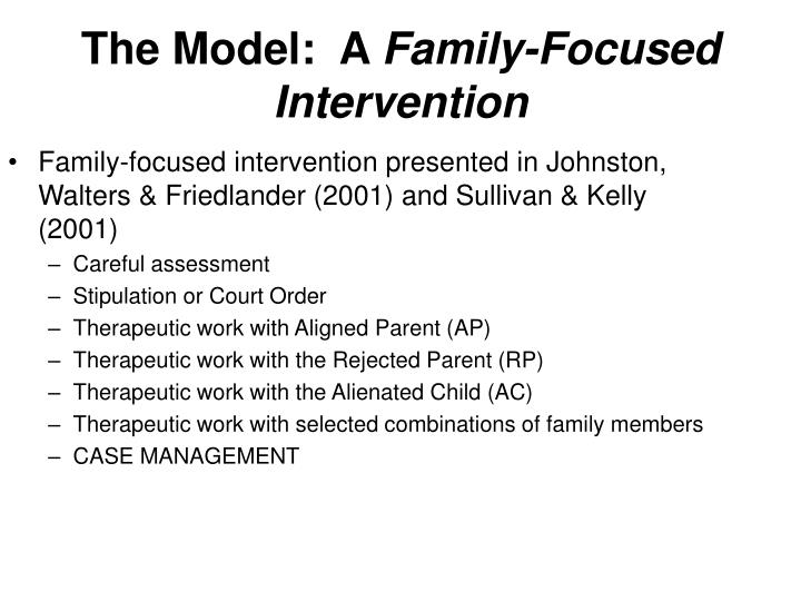 Family-focused intervention presented in Johnston, Walters & Friedlander (2001) and Sullivan & Kelly (2001)